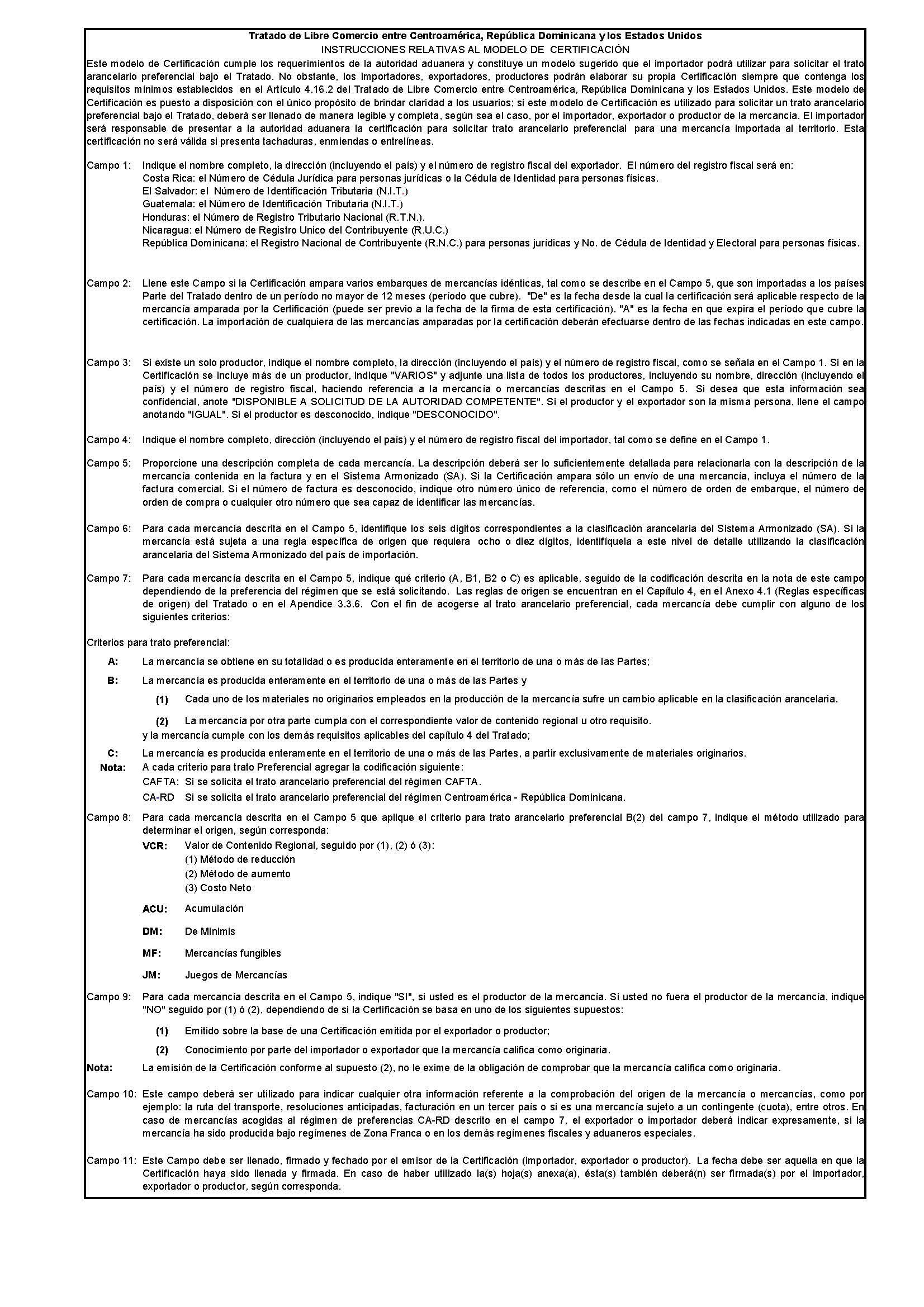 721 Cafta Dr Certificate Of Origin Privacy Shield